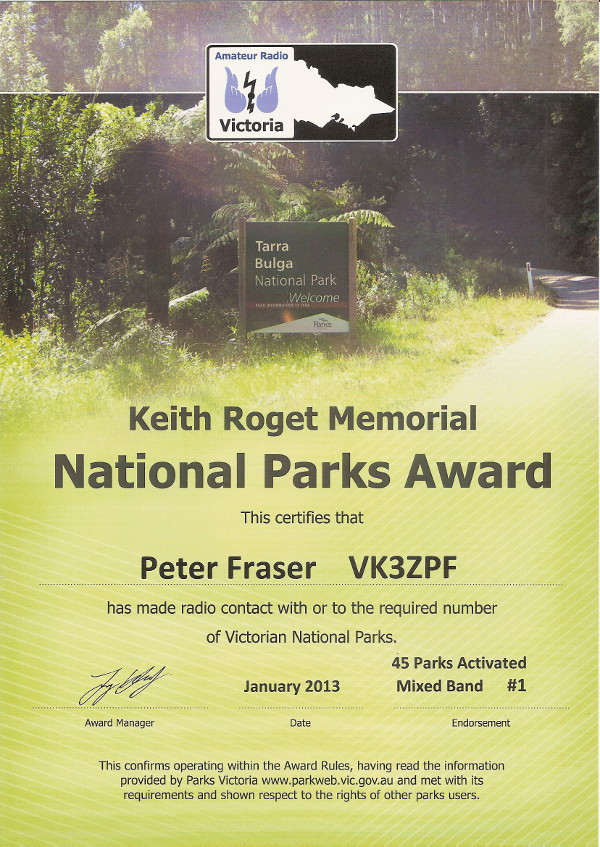 VK3ZPF 45 parks activated 2012